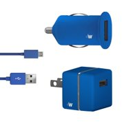 USB Car and AC Charge & Sync: LG/Samsung/HTC/Nokia/Motorola/Kyocera/Blackberry/SonyEricsson - Blue