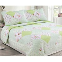 3-Piece Cottage Patchwork Microfiber Bedspread Quilt Set