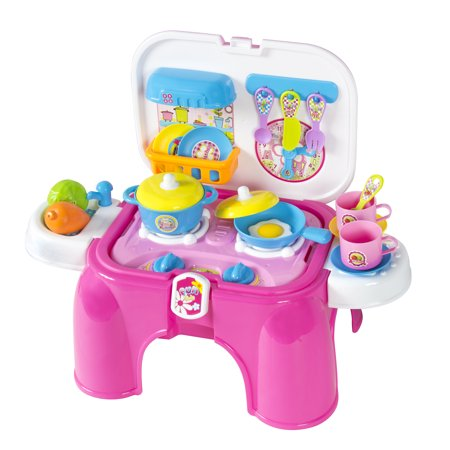 Best Choice Products Kids 25-Piece Portable Pretend Play Kitchen Cooking Toy Playset w/ Cookware, Utensils, Lights,