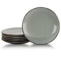 Elama Tahitian Sand 6-Piece Salad Plate Set in Light Grey