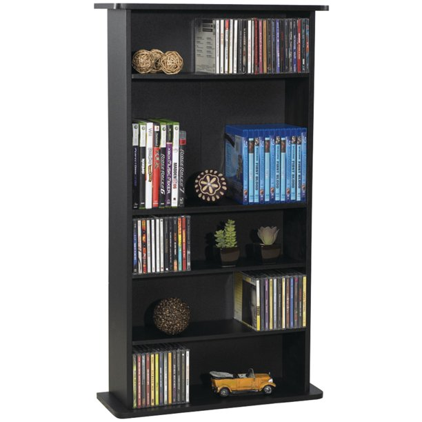 "Atlantic 36"" Drawbridge XL Wood Media Storage Cabinet and Bookshelf, 10"" Depth (240 CDs, 108 DVDs), Black Woodgrain"