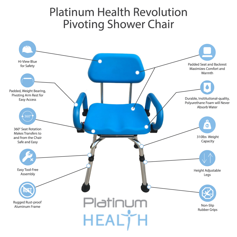 Platinum Health Revolution Pivoting Bath Shower Chair with Padded ...