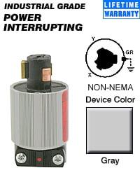 Leviton 23004-HG Non-NEMA Power Inter. Hospital Use Plug Commercial Gray by Leviton