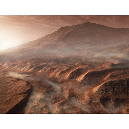 A light fog forms in a desiccated gully in Gale Crater Mars The craters 5km high central mound can be seen in the background Poster
