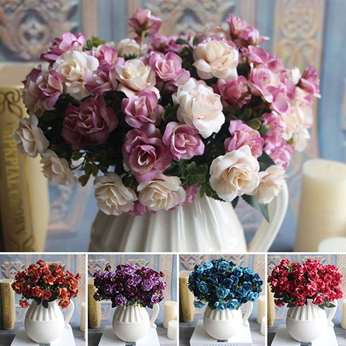 Girl12Queen Home Party Wedding Decor Classic European 15 Heads Artificial Rose Flowers Xmas Gift