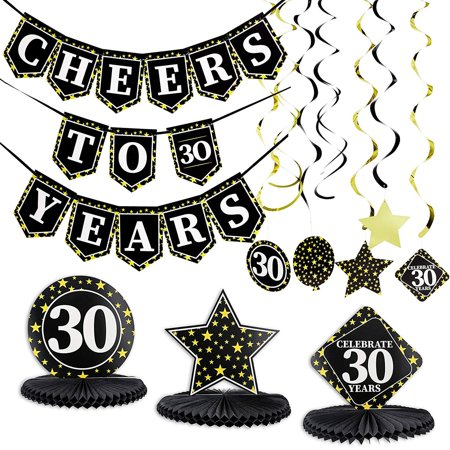 30th Anniversary Decorations (Juvale 30th Birthday Decorations Cheers to 30 Years Banner Centerpiece Party)