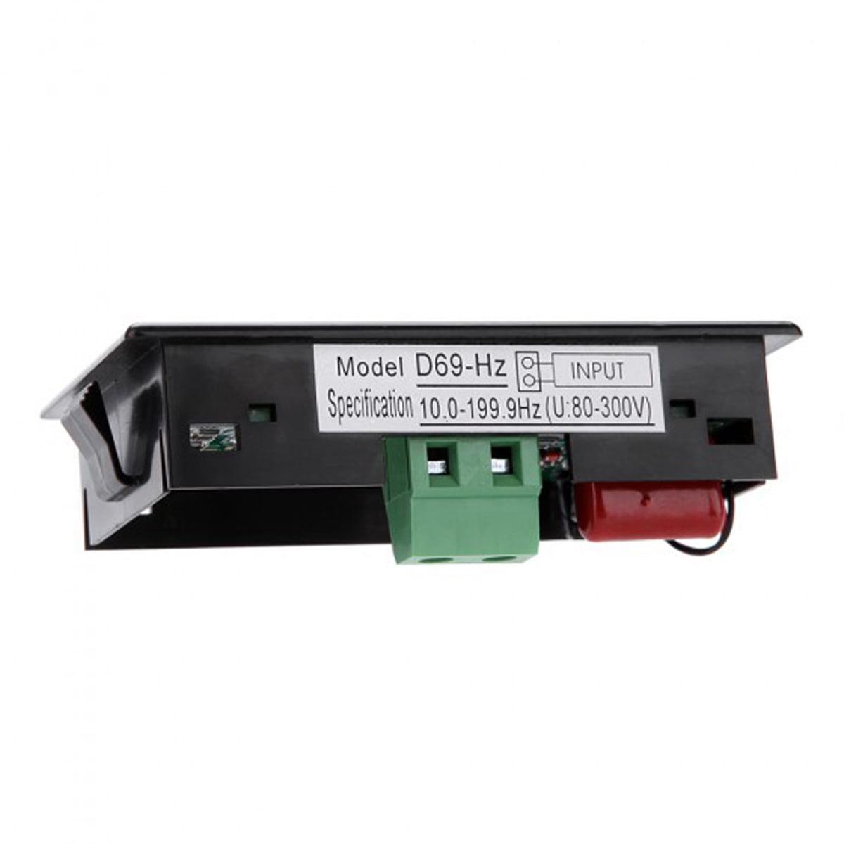 D69-Hz AC80-300V Digital  Blue LCD Display Frequency Meter Tester 10Hz-199.9Hz
