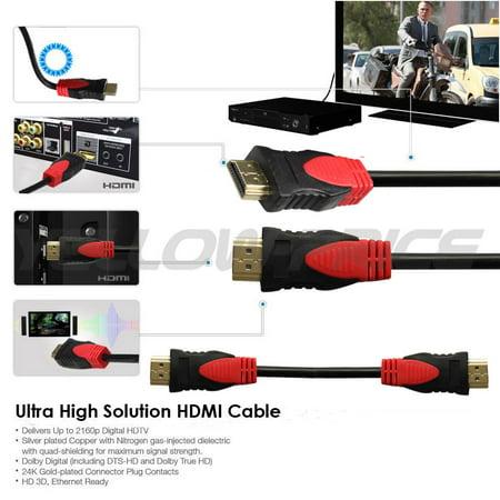 LIVEDITOR 4096×2160p Premium 25 FT HDMI 1.4 Cable w/Ferrite Cores Ethernet 24K Gold Plated - image 2 de 7
