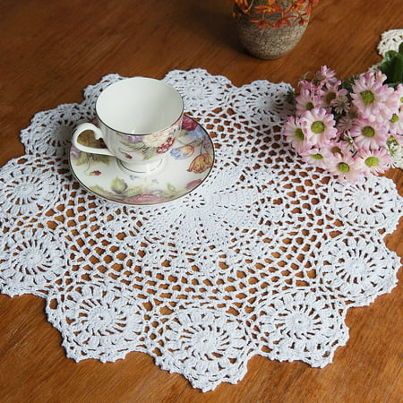 Meigar Handmade Crochet Doilies Lace Flower Tablecloth Cotton Doily Placemats Table Cover Mat Coasters Home Decor,Round,White