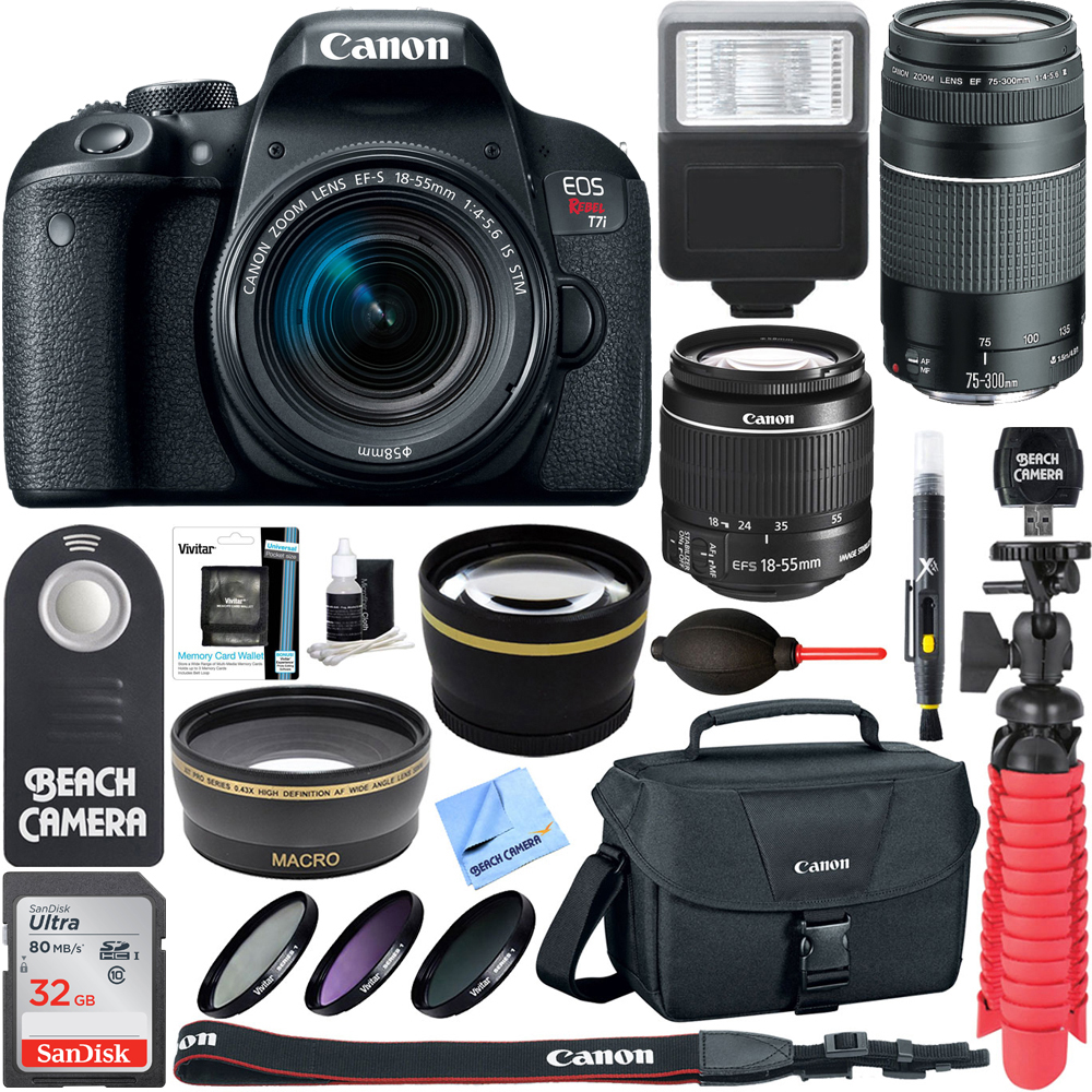 Canon EOS Rebel T7i DSLR Camera (1894C002) + 18-55mm IS STM & 75-300mm III Lens Kit + Accessory Bundle 32GB SDHC Memory + DSLR Photo Bag + Wide Angle Lens + 2x Telephoto Lens + Flash + Remote + Tripod