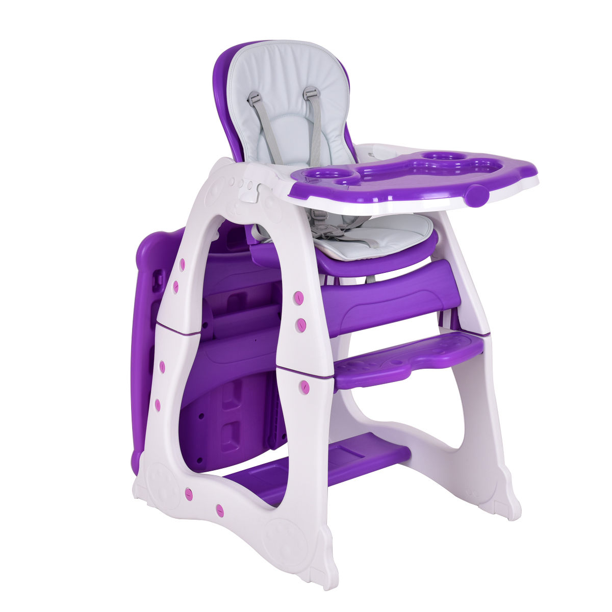 Costway 3 in 1 Baby High Chair Convertible Play Table Seat Booster Toddler Feeding Tray by Costway