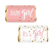 Pink Gold Girl Baby Shower Candy Wrappers 54ct - Pink and Gold Its a Girl Baby Shower Decorations Candy Favors - 54 Count Stickers