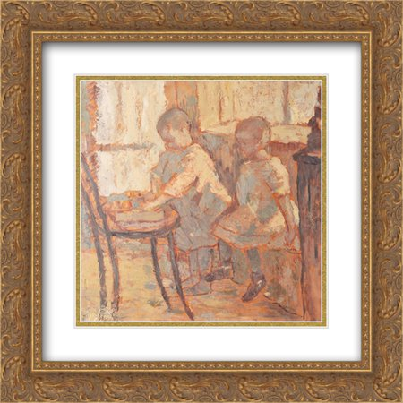 Nicolae Tonitza 2x Matted 20x20 Gold Ornate Framed Art Print 'Childrens' Room'