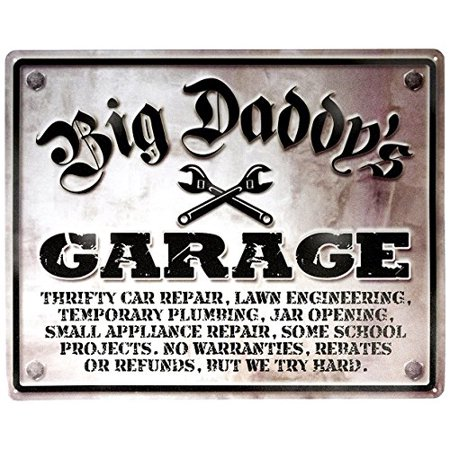 - Big Daddy's Garage Thrifty Car Repair Tin Collectible Sign Gift
