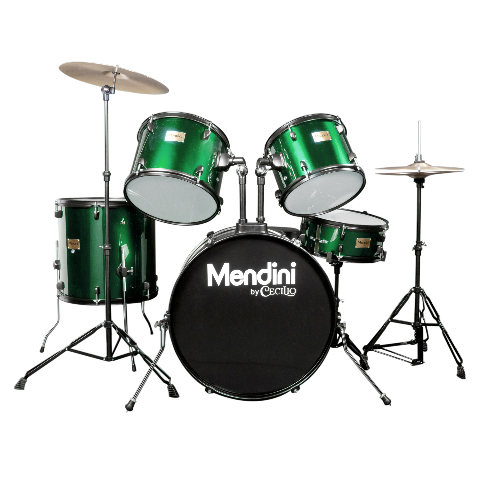 Mendini by Cecilio Complete Full Size 5-Piece Adult Drum Set w/ Cymbals Pedal Throne Sticks, Metallic Green MDS80-GN