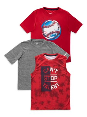 Athletic Works Boys 4-18 & Husky Active Graphic T-Shirt, Solid T-Shirt, & Muscle T-Shirt, 3-Pack