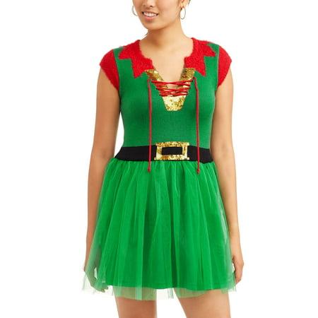 682f9bbce4d10 Holiday Time - Women's Ugly Christmas Sweater Dress - Walmart.com