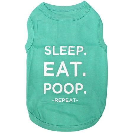Parisian Pet Dog Clothes SLEEP EAT POOP T-Shirt Dog Poop T-shirt