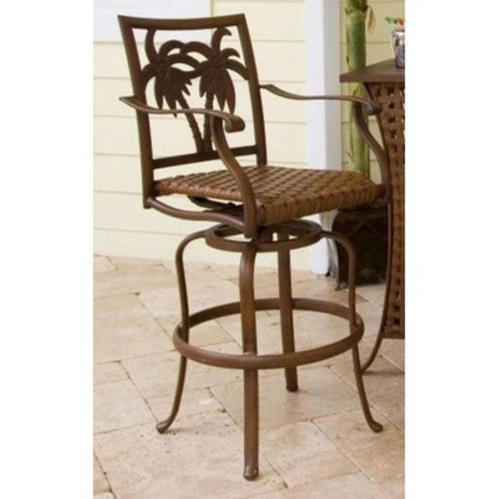 Hospitality Rattan Coco Palm 30 in. Patio Swivel Bar Stool Dark Bronze by
