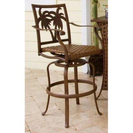 Coco Palms - Hospitality Rattan Coco Palm 30 in. Patio Swivel Barstool - Dark Bronze