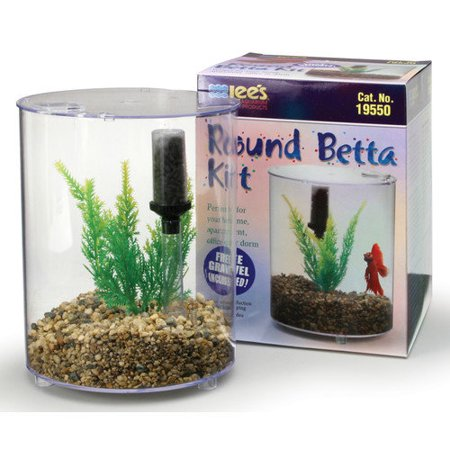 Lees aquarium pet mini round aquarium betta kit for Betta fish tank with filter