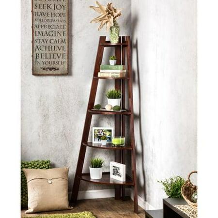 Furniture Of America Kiki 5 Tier Corner Ladder Display Bookcase Cherry Walmart Com