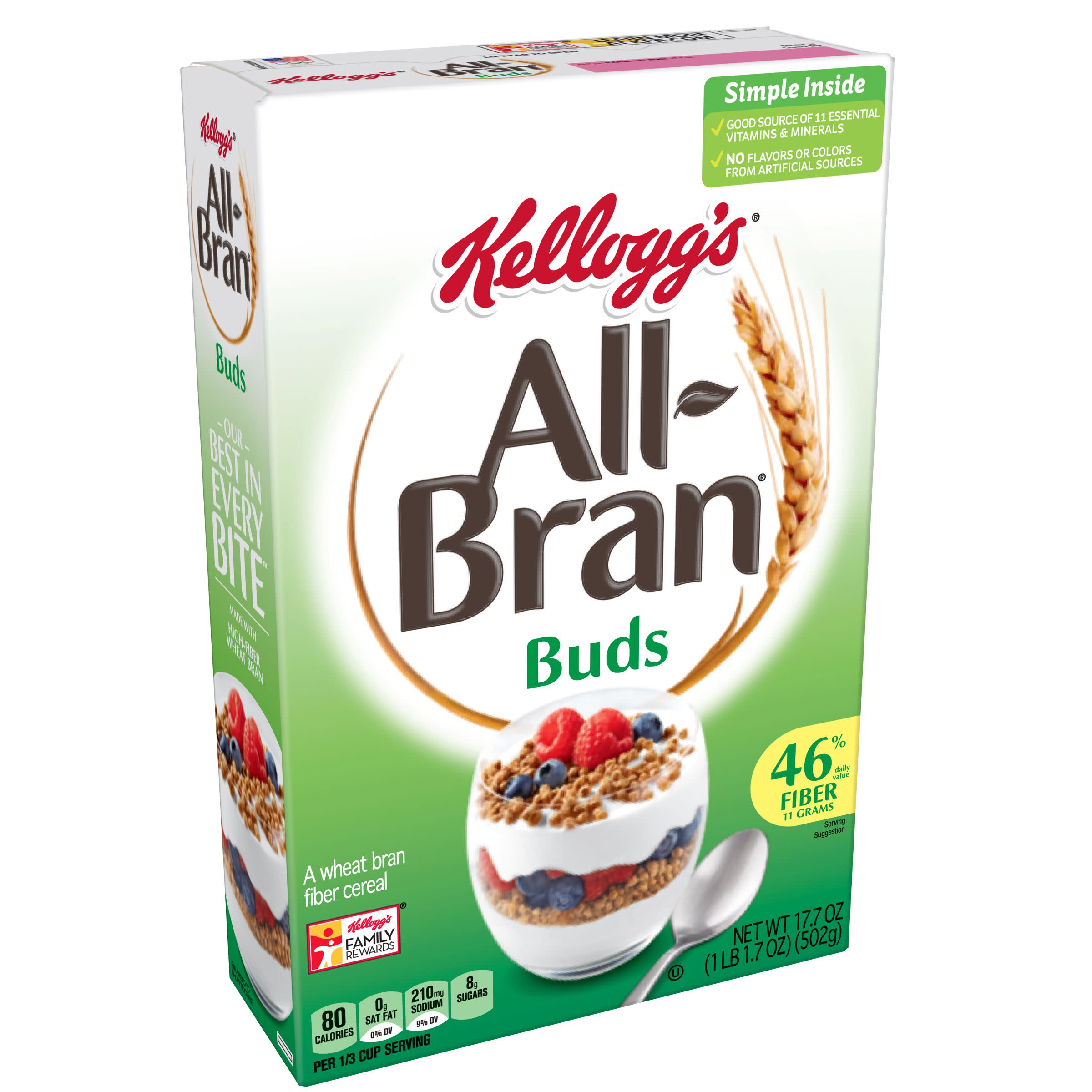 Kellogg's All-Bran Buds, Breakfast Cereal, Wheat Bran, 17.7 oz