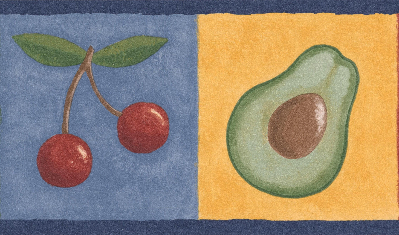 Avocado Grapes Lemon Cherry on Colorful Squares Kitchen Bathroom ...