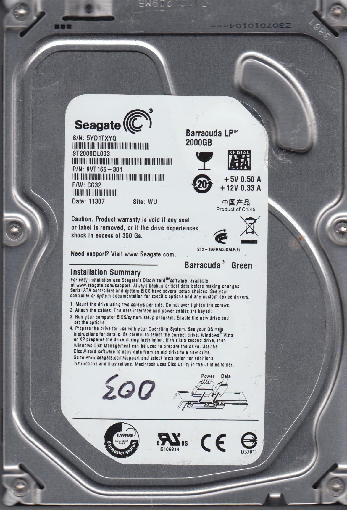 ST2000DL003, 5YD, WU, PN 9VT166-301, FW CC32, Seagate 2TB SATA 3.5 Hard Drive by Seagate