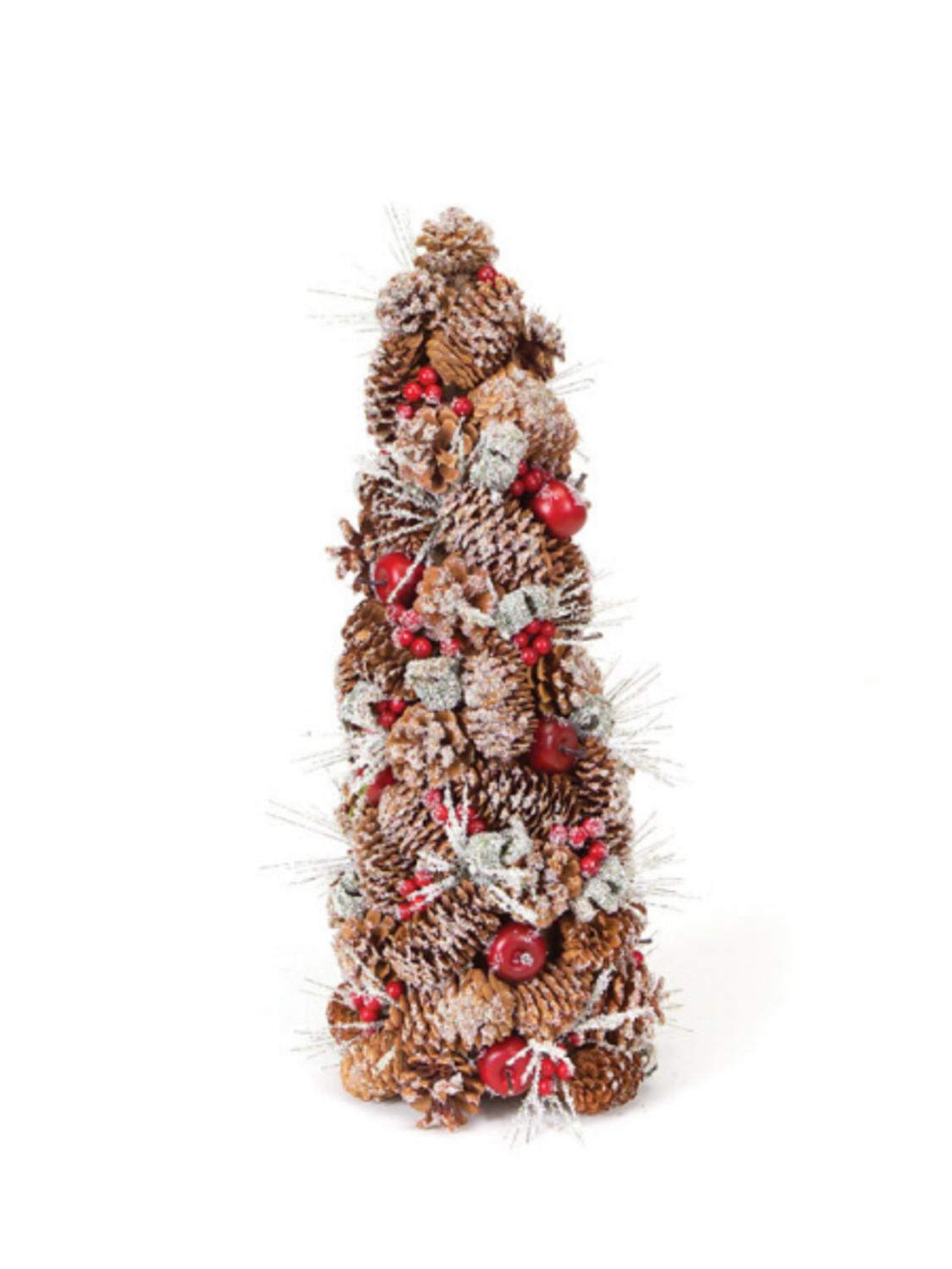 """20"""" Eco Country Iced Pine Cone Artificial Apple Berry Christmas Tree"""