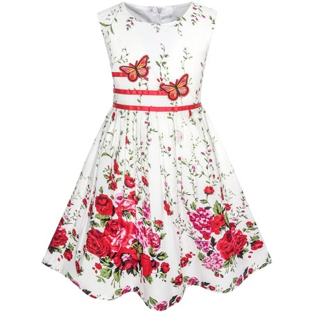 Sunny Fashion Girls Dress Butterfly Flower Party Size 4 12