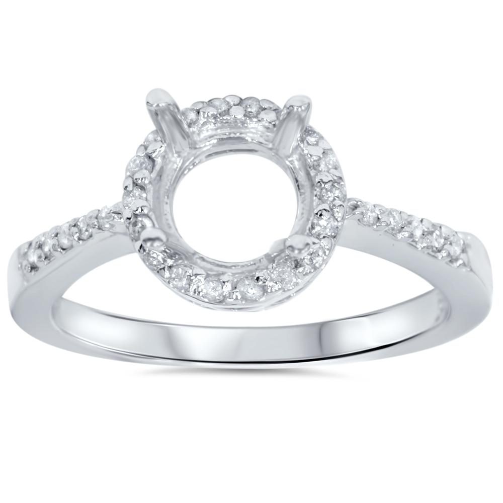 Pompeii3 1/2ct Round Pave Diamond Halo Engagement Ring 14...