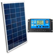 KMG 100 Watts 12 Volts Polycrystalline Solar Panel + Charge Controller Combo - Fast Charging, High Efficiency, and Long Lasting - Perfect for Off-Grid Applications, Motorhomes, Vans, Boats, Tiny Homes