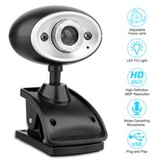 Webcam PC USB Camera 360 Degree Rotation 480P HD Built-in Mic Live Streaming Webcam for Conference and Video Call