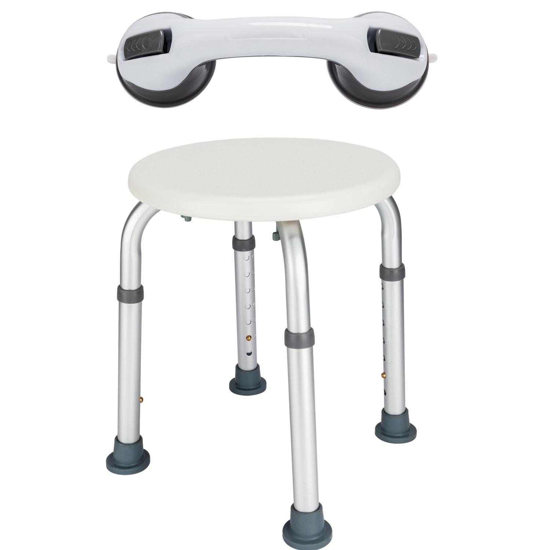 Zimtown Adjustable 7 Height Medical Elderly Bath Chair Bathtub Shower Stool & Sucker Armrest