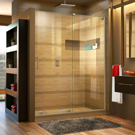 DreamLine Mirage-X 56-60 in. W x 72 in. H Frameless Sliding Shower Door in Brushed Nickel; Right Wall Installation