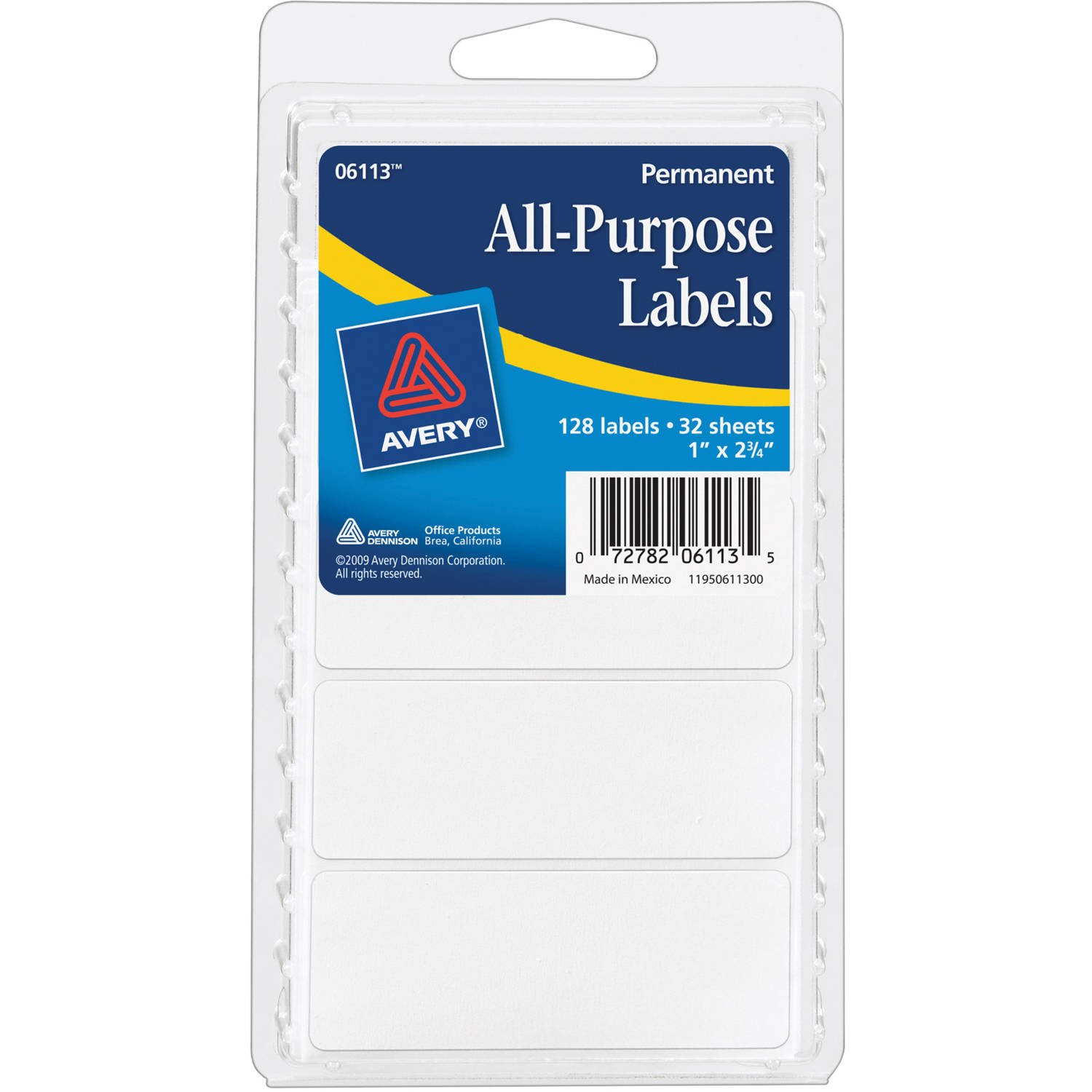 "Avery(R) White All-Purpose Labels 6113, 1"" x 2-3/4"", Pack of 128"