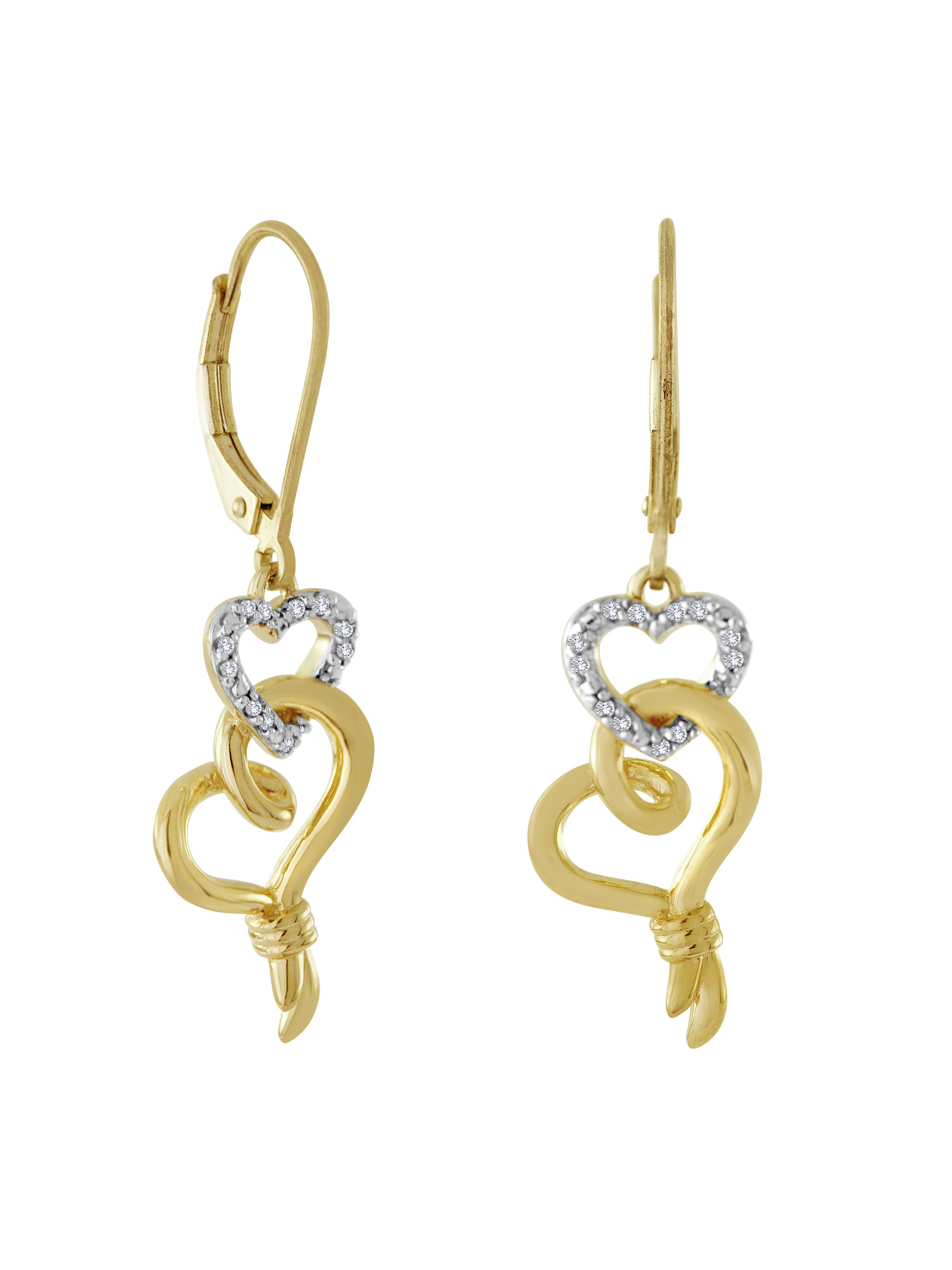 14kt Yellow Gold over Sterling Silver 1/10 Carat T.W. Diamond Earring