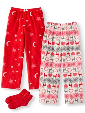 Mad Dog Girls 2 Pack Micro Fleece Pajama Pants With Slippers (Little Girls & Big Girls)