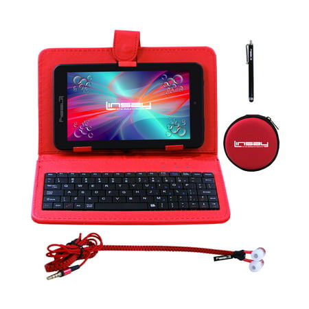 "Image of ""LINSAY 7"""" New Quad Core Tablet Super Bundle with Red Keyboard, Earphones and Pen Stylus Android 6.0 Dual Camera"""