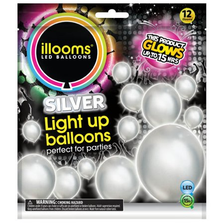 """ILLOOMS LED Light Up Balloon Solid Silver 9"""" 12Pcs - image 1 of 2"""