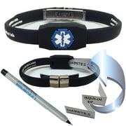 Waterproof Messenger Series Medical Alert ID Bracelet - Black