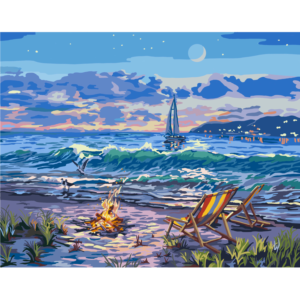 "Paint By Number Canvas W/Lights Kit 11""X14""-Beach"