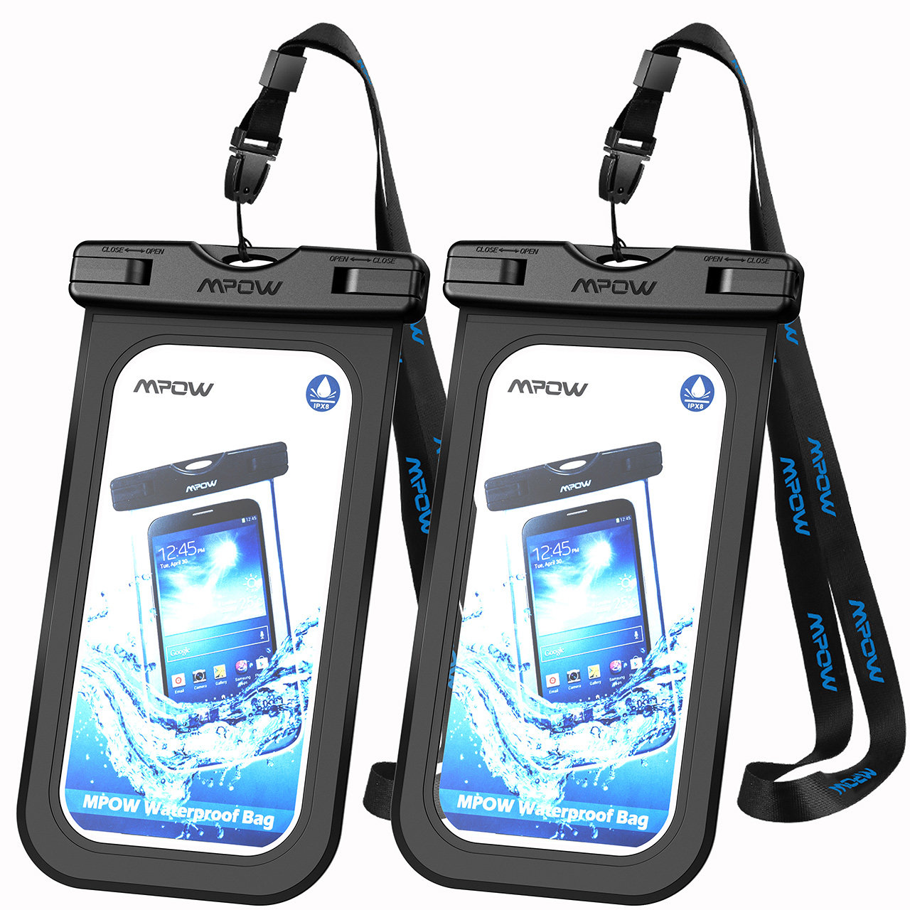 Mpow 2 Pack Waterproof Case, IPX 8 Cellphone Dry Bag for iPhone, Google Pixel, HTC, LG, Huawei, Sony, Nokia and other Phones (Black)