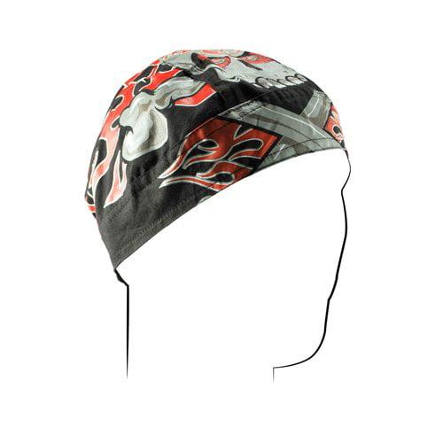 Zan Headgear Flydanna Headwrap  Flaming Crossbones