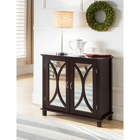 Cabinet Accent Table - Luke Espresso Wood Contemporary Accent Entryway Display Console Table With Mirrored Cabinet Door Storage