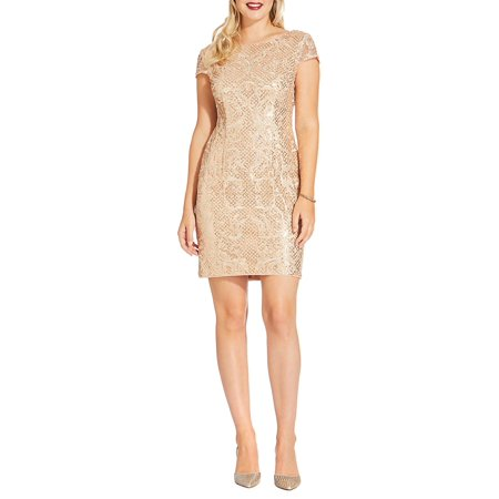 Short-Sleeve Sequined Sheath Dress