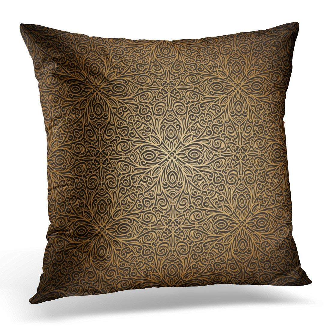 USART Swirly Black Arabesque Vintage Gold Filigree Yellow Renaissance Rococo Pillow Case Cushion Cover 20x20 Inches