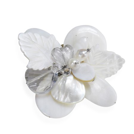 Cultured Pearl Pearl Brooch - Nature's Charm Carved Mother of Pearl and Cultured Freshwater Pearls Pin or Brooch