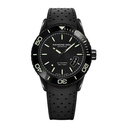 Raymond Weil Freelancer Automatic Black Steel Mens Rubber Watch 2760-SB1-20001